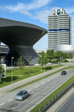 MUNICH, GERMANY - MAY 6, 2017 : A view of the BMW Museum next to the BMW Welt exhibition center in Munich, Germany.