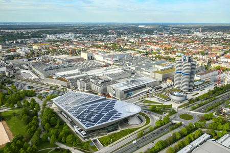 MUNICH, GERMANY - MAY 6, 2017 : Aerial view of Munich cityscape and BMW Museum from Olympic Tower in Bavaria, Germany. Zdjęcie Seryjne - 80137905