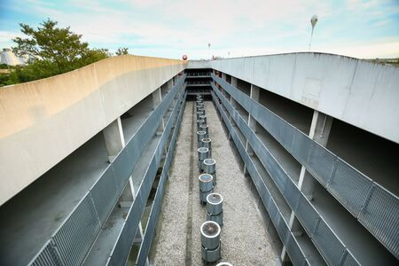 MUNICH, GERMANY - MAY 9, 2017 : The ventilation openings at the parking lot of the Allianz Arena football stadium in Munich, Germany. The Allianz Arena is home football stadium for FC Bayern Munich.