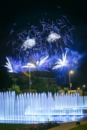 pyrotechnics: Brightly colorful fireworks above the city water fountains during the International fireworks festival in Zagreb, Croatia.