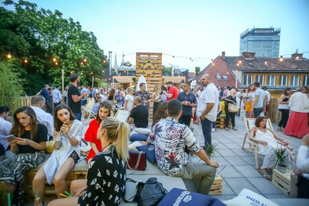 ZAGREB, CROATIA - JUNE 28, 2017 : People enjoy Corona Sunsets Session party on the roof of Zagreb Dance Center in center of Zagreb, Croatia.
