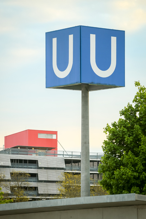 u bahn: MUNCHEN, GERMANY - MAY 9, 2017 : A large U- Bahn subway sign in Munich, Germany. About 350 million passengers ride the U-Bahn every year.