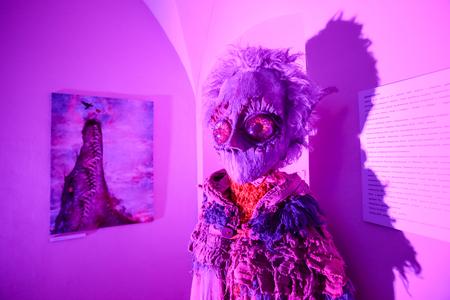 LUKAVEC, CROATIA - MAY 27, 2017 : A scary doll that looks like an alien on the Perunfest, festival of forgotten tales and folk tales held at Lukavec Castle in Lukavac, Croatia.