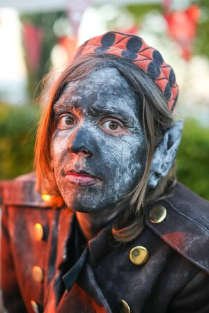 LUKAVEC, CROATIA - MAY 27, 2017 : Portrait of young man dressed as elf on the Perunfest, festival of forgotten tales and folk tales held at Lukavec Castle in Lukavac, Croatia.