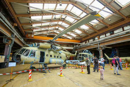 VELIKA GORICA, CROATIA - MAY 13, 2017 : People sightseeing the Mil Mi-8 Hip aircrafts at overhaul exhibited at the AIRVG2017, the aviation day in Velika Gorica, Croatia.