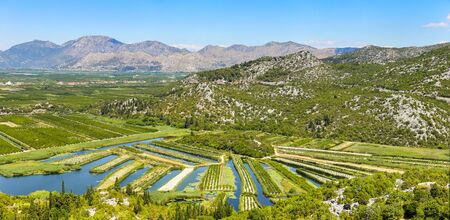 A view of the irrigated agricultural orchards and fields in the delta of the river Neretva in Opuzen, Croatia. Stock Photo