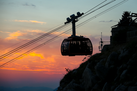 srd: A cable car to Srd hill, a mountain behind the ancient old town Dubrovnik in Dalmatia, Croatia.