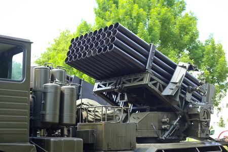 ZAGREB, CROATIA - MAY 28, 2017 : Multiple Launch Rocket System BM-21 Grad exposed at 26th anniversary of the formation of the Croatian Armed Forces on Lake Jarun in Zagreb, Croatia.