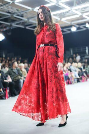 ZAGREB, CROATIA - OCTOBER 24, 2017 : Fashion model wearing clothes for autumn - winter, designed by Robert Sever on the Bipa Fashion.hr fashion show in Zagreb, Croatia. Redakční