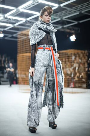 ZAGREB, CROATIA - OCTOBER 25, 2017 : Fashion model wearing clothes for autumn - winter, designed by Jamoi on the Bipa Fashion.hr fashion show in Zagreb, Croatia.