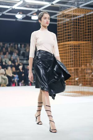 ZAGREB, CROATIA - OCTOBER 25, 2017 : Fashion model wearing clothes for autumn - winter, designed by Gala Marija Vrbanic with brand name Price On Requeston on the Bipa Fashion.hr fashion show in Zagreb, Croatia.