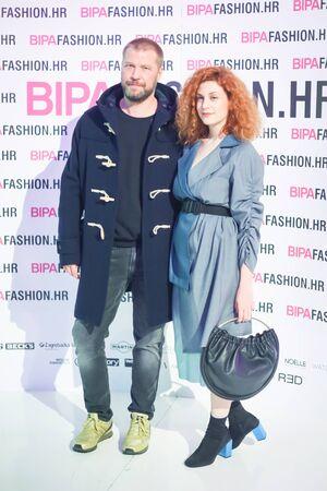 ZAGREB, CROATIA - OCTOBER 25, 2017 : Fashion editor of the magazine Elle Sasa Joka and collaborator Nambi Kezic on the Bipa Fashion.hr fashion show in Zagreb, Croatia. Redakční