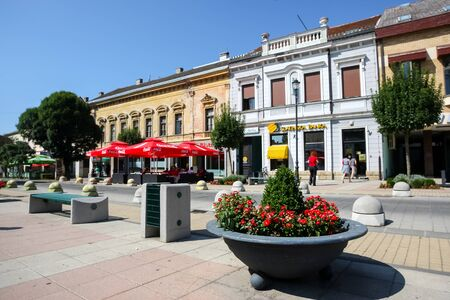 DARUVAR, CROATIA - AUGUST 16, 2013 : King Tomislav Square with old style architecture in the center of Daruvar, Croatia.