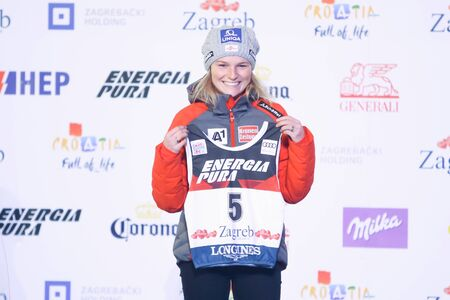 ZAGREB, CROATIA - JANUARY 2, 2018 : Drawing of start numbers for the female slalom race Snow Queen Trophy 2018 at the King Tomislav Square in Zagreb, Croatia. Austrian skier, Bernadette Schild. Redactioneel