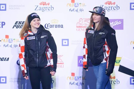 ZAGREB, CROATIA - JANUARY 2, 2018 : Drawing of start numbers for the female slalom race Snow Queen Trophy 2018 at the King Tomislav Square in Zagreb, Croatia. Croatian skiers Leona Popovic and Ida Stimac.