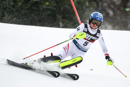 ZAGREB, CROATIA - JANUARY 3, 2018 : Schild Bernadette of Aut competes during the Audi FIS Alpine Ski World Cup Womens Slalom, Snow Queen Trophy 2018 in Zagreb, Croatia.