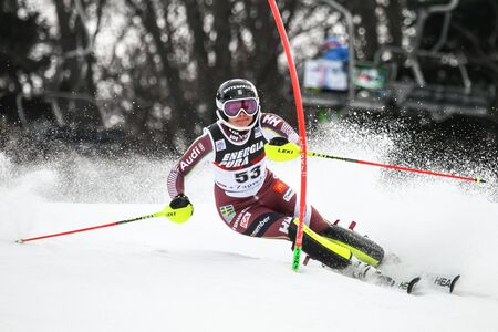 ZAGREB, CROATIA - JANUARY 3, 2018 : Eklund Nathalie of Swe competes during the Audi FIS Alpine Ski World Cup Womens Slalom, Snow Queen Trophy 2018 in Zagreb, Croatia.