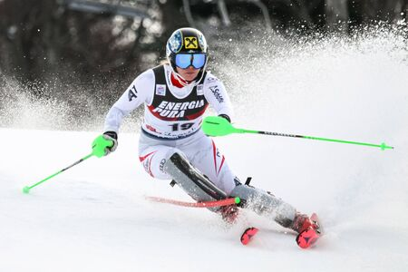 ZAGREB, CROATIA - JANUARY 3, 2018 : Gallhuber Katharina of Aut competes during the Audi FIS Alpine Ski World Cup Womens Slalom, Snow Queen Trophy 2018 in Zagreb, Croatia.