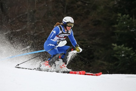 ZAGREB, CROATIA - JANUARY 3, 2018 : Midali Roberta of Ita competes during the Audi FIS Alpine Ski World Cup Womens Slalom, Snow Queen Trophy 2018 in Zagreb, Croatia.