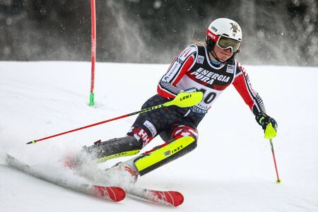 ZAGREB, CROATIA - JANUARY 3, 2018 : St Germain Laurence of Can competes during the Audi FIS Alpine Ski World Cup Womens Slalom, Snow Queen Trophy 2018 in Zagreb, Croatia.