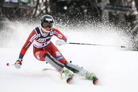 ZAGREB, CROATIA - JANUARY 3, 2018 : Skjoeld Maren of Nor competes during the Audi FIS Alpine Ski World Cup Womens Slalom, Snow Queen Trophy 2018 in Zagreb, Croatia.