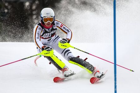 ZAGREB, CROATIA - JANUARY 3, 2018 : Geiger Christina of Ger competes during the Audi FIS Alpine Ski World Cup Womens Slalom, Snow Queen Trophy 2018 in Zagreb, Croatia. Editorial