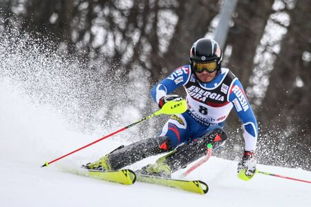 ZAGREB, CROATIA - JANUARY 4, 2018 : Khoroshil Alexander of Rus competes during the Audi FIS Alpine Ski World Cup Mens Slalom, Snow Queen Trophy 2018 in Zagreb, Croatia.