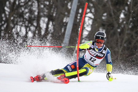 ZAGREB, CROATIA - JANUARY 4, 2018 : Hargin Mattias of Swe competes during the Audi FIS Alpine Ski World Cup Mens Slalom, Snow Queen Trophy 2018 in Zagreb, Croatia.