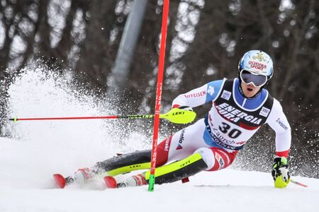 ZAGREB, CROATIA - JANUARY 4, 2018 : Meillard Loic of Sui competes during the Audi FIS Alpine Ski World Cup Mens Slalom, Snow Queen Trophy 2018 in Zagreb, Croatia.