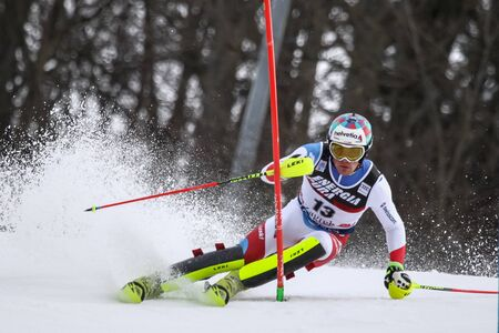 ZAGREB, CROATIA - JANUARY 4, 2018 : Yule Daniel of Sui competes during the Audi FIS Alpine Ski World Cup Mens Slalom, Snow Queen Trophy 2018 in Zagreb, Croatia.