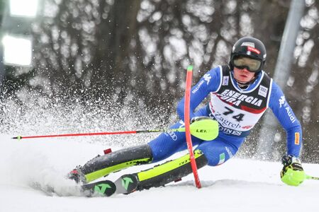 ZAGREB, CROATIA - JANUARY 4, 2018 : Vinatzer Alex of Ita competes during the Audi FIS Alpine Ski World Cup Mens Slalom, Snow Queen Trophy 2018 in Zagreb, Croatia.