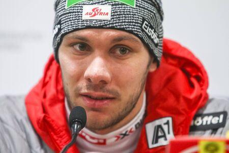 ZAGREB, CROATIA - JANUARY 4, 2018 : Press conference with second placed Michael Matt of Austria on the Audi FIS Alpine Ski World Cup Mens Slalom, Snow Queen Trophy 2018 in Zagreb, Croatia.