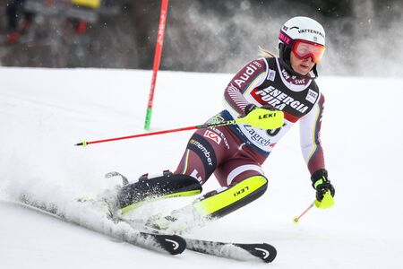 ZAGREB, CROATIA - JANUARY 3, 2018 : Fjaellstroem Magdalena of Swe competes during the Audi FIS Alpine Ski World Cup Womens Slalom, Snow Queen Trophy 2018 in Zagreb, Croatia. Editorial