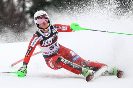 ZAGREB, CROATIA - JANUARY 3, 2018 : Holtmann Mina Fuerst of Nor competes during the Audi FIS Alpine Ski World Cup Womens Slalom, Snow Queen Trophy 2018 in Zagreb, Croatia.