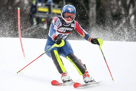 ZAGREB, CROATIA - JANUARY 3, 2018 : O Brien Nina of Usa competes during the Audi FIS Alpine Ski World Cup Womens Slalom, Snow Queen Trophy 2018 in Zagreb, Croatia. Editorial
