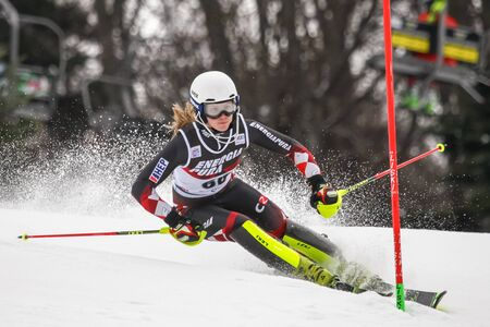 ZAGREB, CROATIA - JANUARY 3, 2018 : Stimac Ida of Cro competes during the Audi FIS Alpine Ski World Cup Womens Slalom, Snow Queen Trophy 2018 in Zagreb, Croatia. Editorial