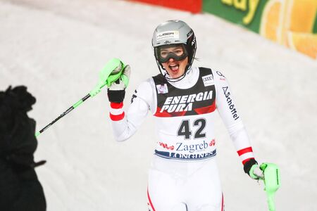 ZAGREB, CROATIA - JANUARY 3, 2018 : Huber Katharina of Aut at the finish line during the Audi FIS Alpine Ski World Cup Womens Slalom, Snow Queen Trophy 2018 in Zagreb, Croatia.