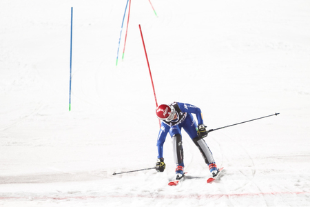 ZAGREB, CROATIA - JANUARY 3, 2018 : Curtoni Irene of Ita competes during the Audi FIS Alpine Ski World Cup Womens Slalom, Snow Queen Trophy 2018 in Zagreb, Croatia. Editorial