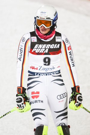 ZAGREB, CROATIA - JANUARY 3, 2018 : Geiger Christina of Ger at the finish line during the Audi FIS Alpine Ski World Cup Womens Slalom, Snow Queen Trophy 2018 in Zagreb, Croatia. Editorial