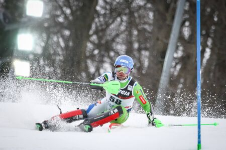 ZAGREB, CROATIA - JANUARY 4, 2018 : Groselj Zen of Slo competes during the Audi FIS Alpine Ski World Cup Mens Slalom, Snow Queen Trophy 2018 in Zagreb, Croatia.