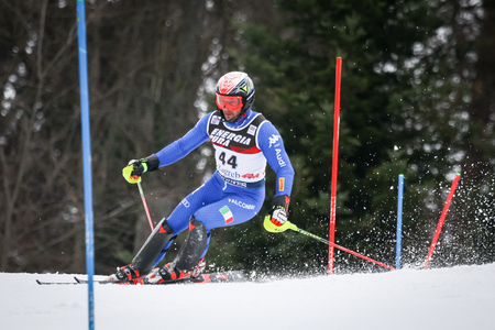 ZAGREB, CROATIA - JANUARY 4, 2018 : Deville Christian of Ita competes during the Audi FIS Alpine Ski World Cup Mens Slalom, Snow Queen Trophy 2018 in Zagreb, Croatia.