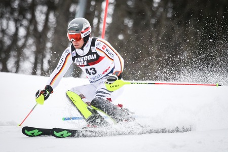 ZAGREB, CROATIA - JANUARY 4, 2018 : Stehle Dominik of Ger competes during the Audi FIS Alpine Ski World Cup Mens Slalom, Snow Queen Trophy 2018 in Zagreb, Croatia.