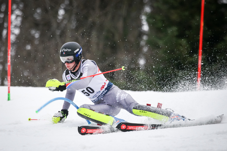 ZAGREB, CROATIA - JANUARY 4, 2018 : Noel Clement of Fra competes during the Audi FIS Alpine Ski World Cup Mens Slalom, Snow Queen Trophy 2018 in Zagreb, Croatia.