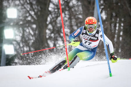 ZAGREB, CROATIA - JANUARY 4, 2018 : Salarich Joaquim of Esp competes during the Audi FIS Alpine Ski World Cup Mens Slalom, Snow Queen Trophy 2018 in Zagreb, Croatia.