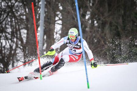 ZAGREB, CROATIA - JANUARY 4, 2018 : Zenhaeusern Ramon of Sui competes during the Audi FIS Alpine Ski World Cup Mens Slalom, Snow Queen Trophy 2018 in Zagreb, Croatia.