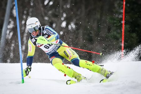 ZAGREB, CROATIA - JANUARY 4, 2018 : Johansson Emil of Swe competes during the Audi FIS Alpine Ski World Cup Mens Slalom, Snow Queen Trophy 2018 in Zagreb, Croatia.
