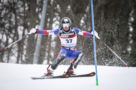 ZAGREB, CROATIA - JANUARY 4, 2018 : Kelley Robby of Usa competes during the Audi FIS Alpine Ski World Cup Mens Slalom, Snow Queen Trophy 2018 in Zagreb, Croatia.
