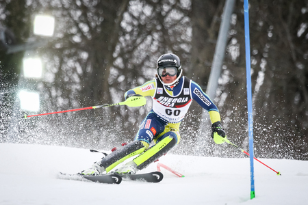 ZAGREB, CROATIA - JANUARY 4, 2018 : Roenngren Mattias of Swe competes during the Audi FIS Alpine Ski World Cup Mens Slalom, Snow Queen Trophy 2018 in Zagreb, Croatia.