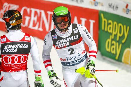 ZAGREB, CROATIA - JANUARY 4, 2018 : Matt Michael of Aut at the finski line of the Audi FIS Alpine Ski World Cup Mens Slalom, Snow Queen Trophy 2018 in Zagreb, Croatia. Editorial