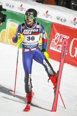ZAGREB, CROATIA - JANUARY 4, 2018 : Engel Mark of Usa competes during the Audi FIS Alpine Ski World Cup Mens Slalom, Snow Queen Trophy 2018 in Zagreb, Croatia.